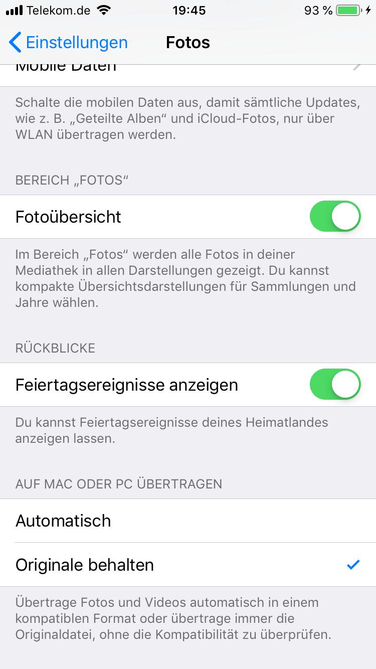iPhone Bild Einstellung